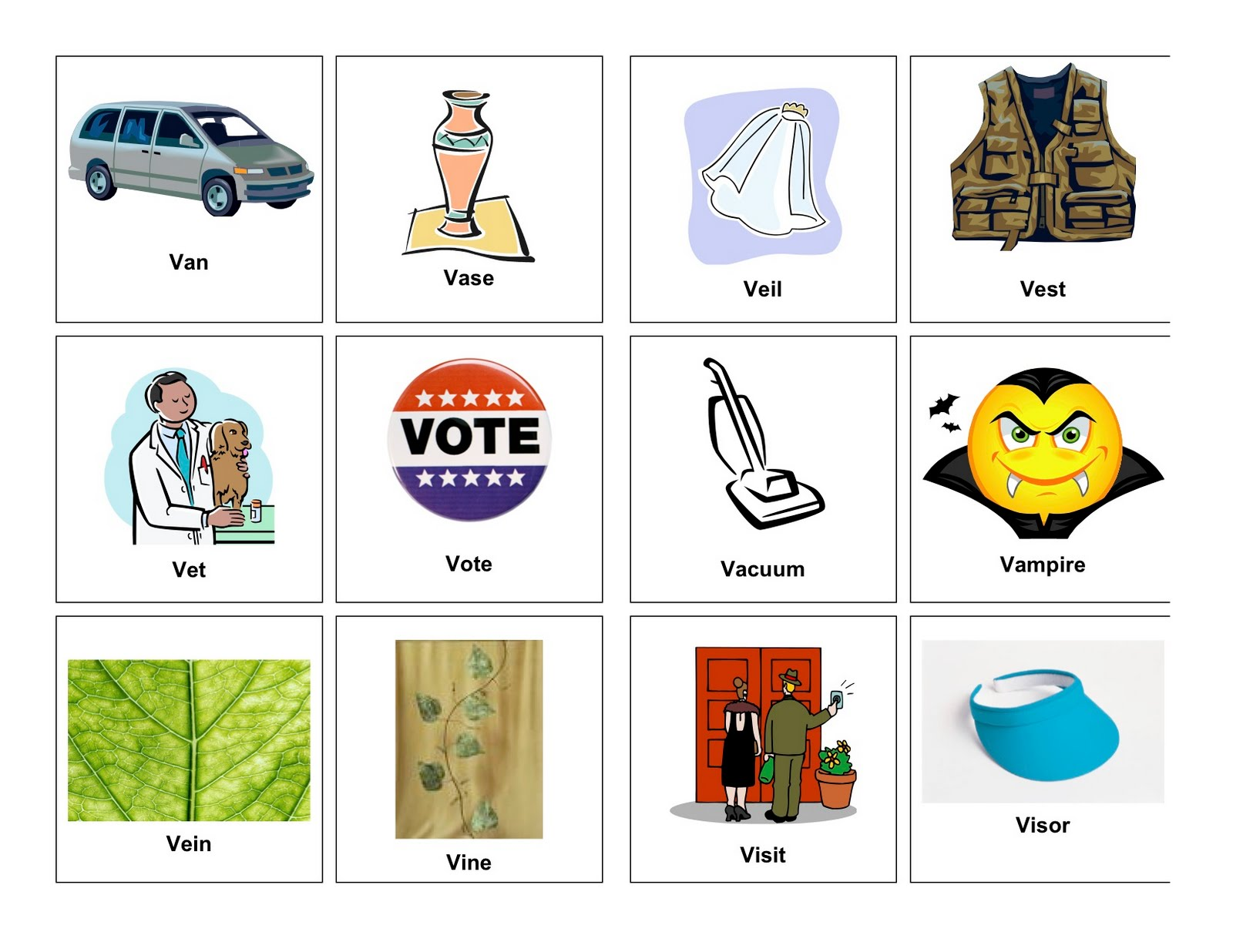 Match the Words to the Pictures: V: EnchantedLearning.com