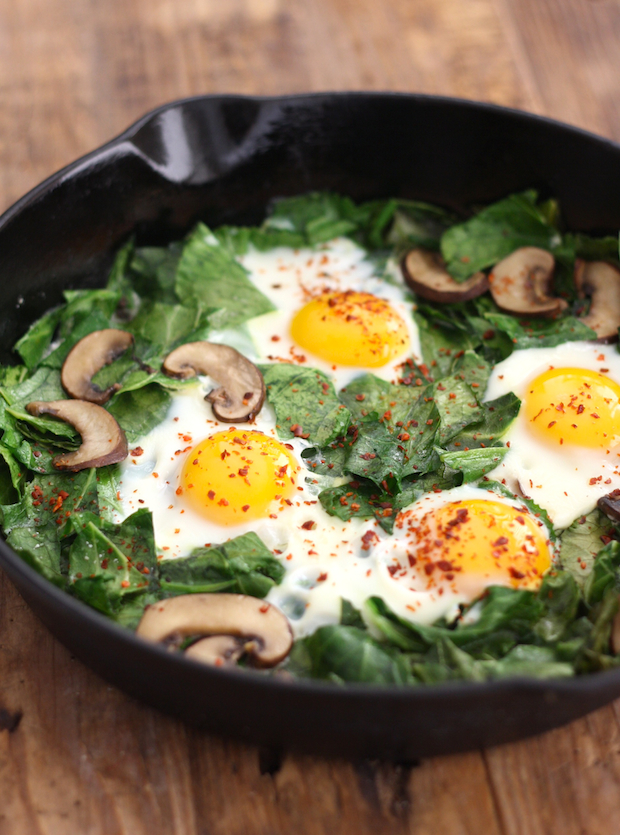 Skillet Collards with Mushrooms and Eggs sprinkled with aleppo chili ...