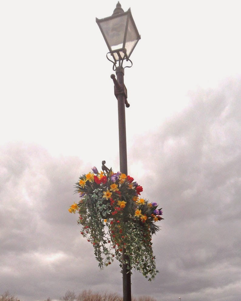 Attractive hanging baskets are adding colour in Brigg near the River Ancholme - picture on Nigel Fisher's Brigg Blog