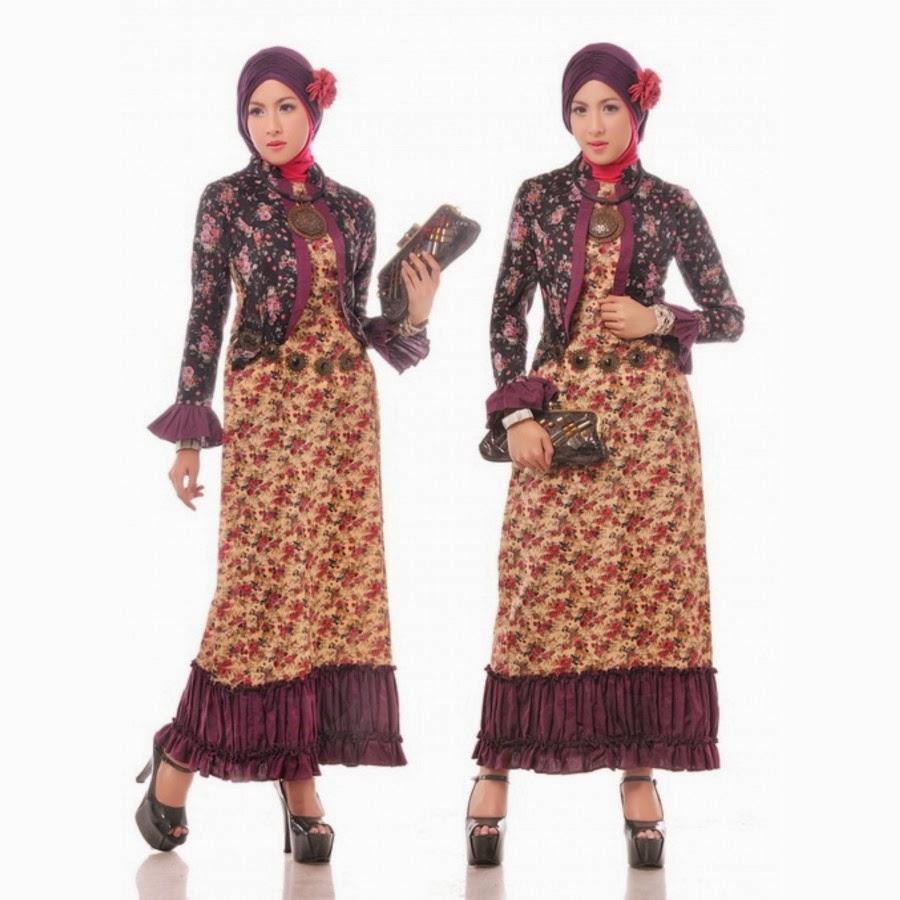 Model baju muslim batik terbaru untuk wanita Model baju gamis batik muslimah terbaru