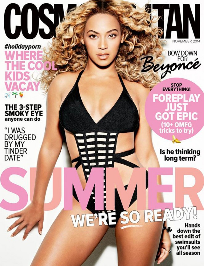 Beyonce covers Cosmopolitan November 2014 in a Herve Leger by Max Azria swimsuit