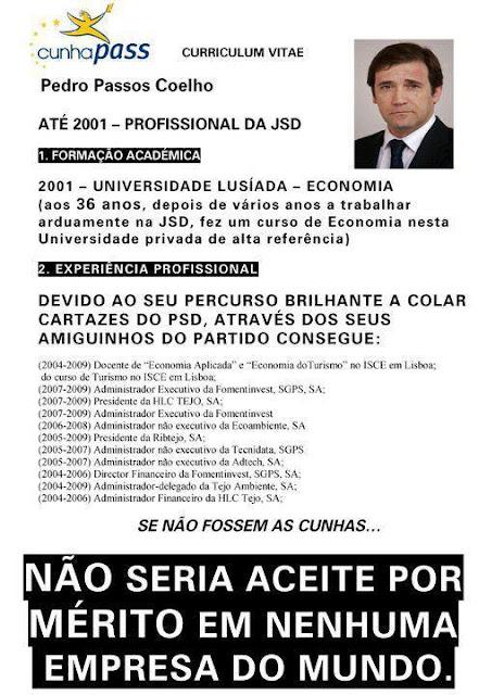 Investiguem o Curriculum Vitae de Pedro Passos Coelho Primeiro Ministro de Portugal PSD