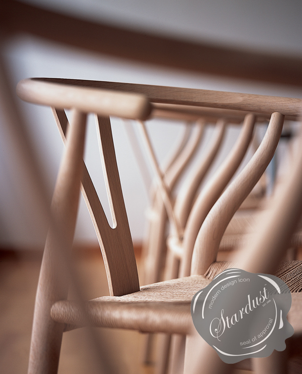 Natural soap oak CH24 Wishbone Chairs are completed and await a final round of inspection to ensure they meet the stringent quality standards of Carl Hansen & Søn.  Image credits: Stardust Modern Design).