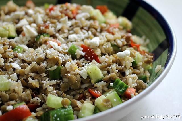 Vegetarian Dish - Brown rice with lentils, cucumbers, tomatoes & feta