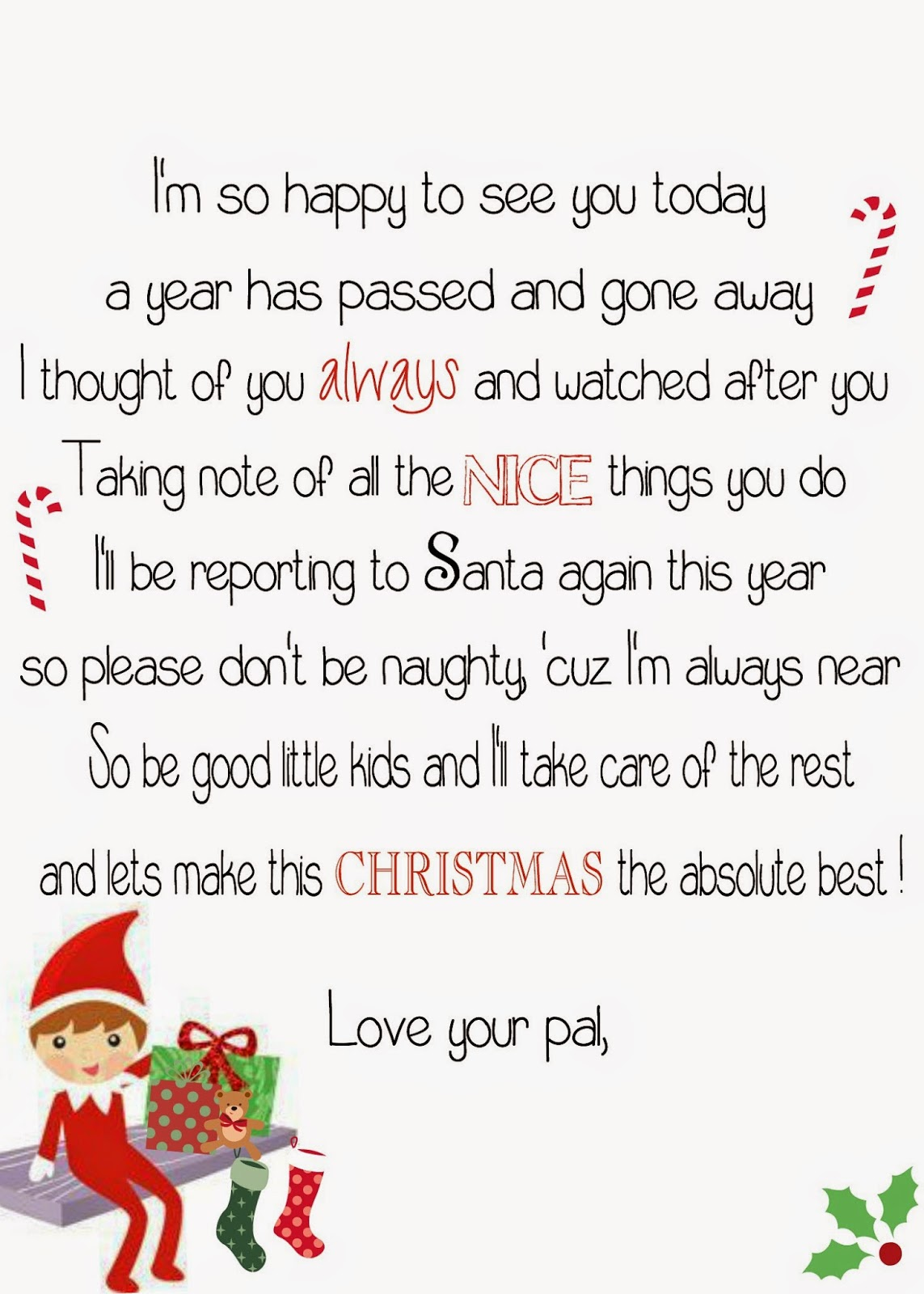 Crafty image regarding free printable elf on the shelf letter