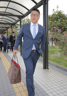 宮崎空港に到着した村田