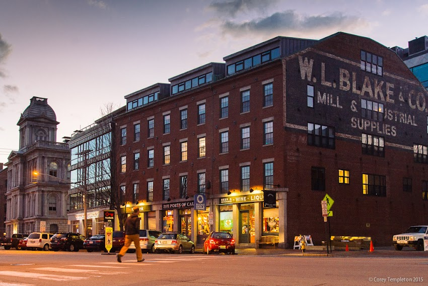Portland, Maine USA November 2015 photo by Corey Templeton. A view along Commercial Street last evening, including the old W.L. Blake & Co Mill & Industrial Supplies painted sign.