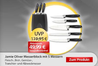 Jamie Oliver Messerblock mit 5 Messern bei MeinPaket für 49,99 Euro