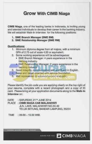 Job Vacancy BANK CIMB NIAGA Lampung