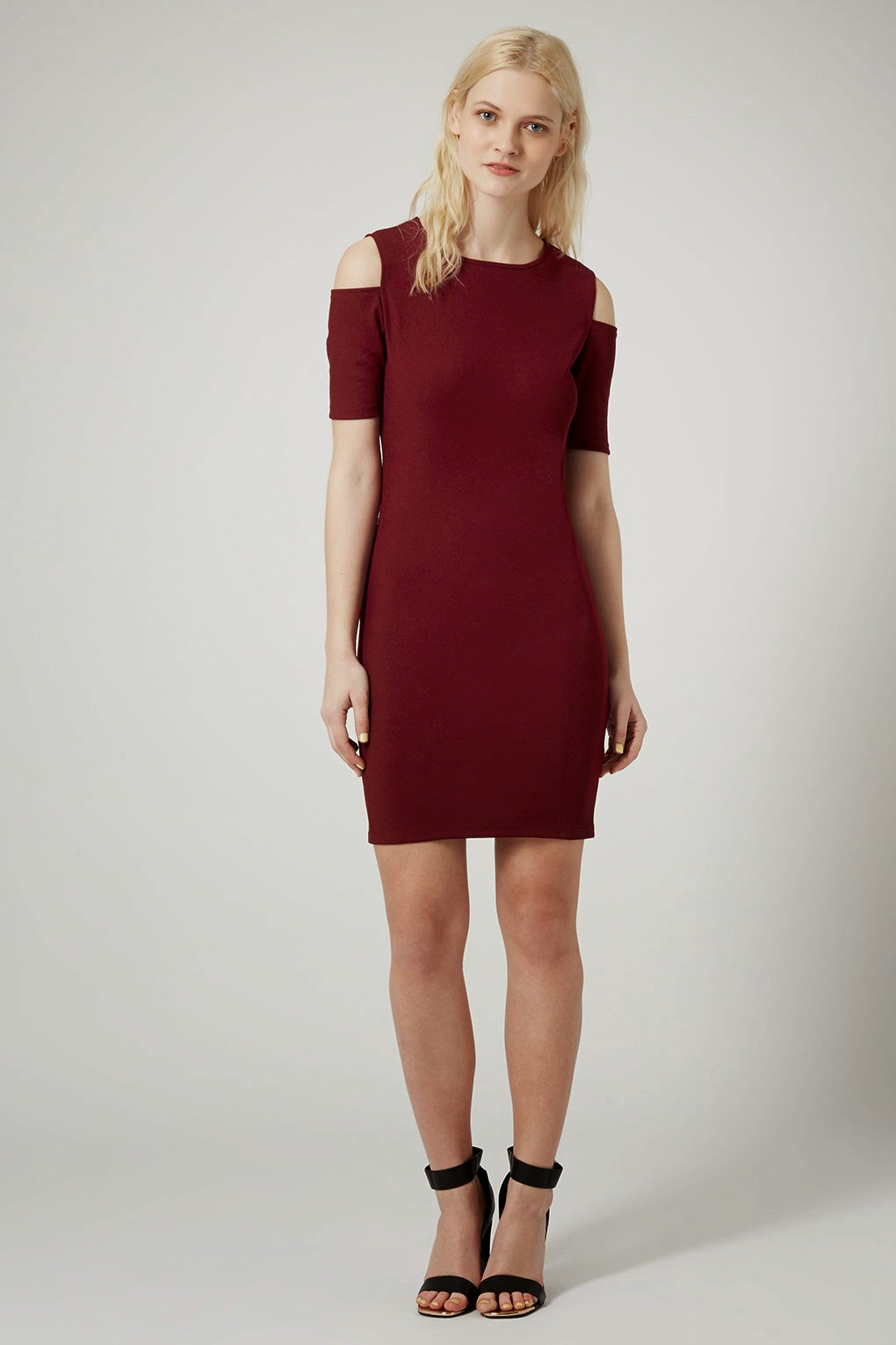 burgundy shoulder dress