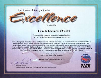 PADI Certificate of Excellence Oskar Arvidsson