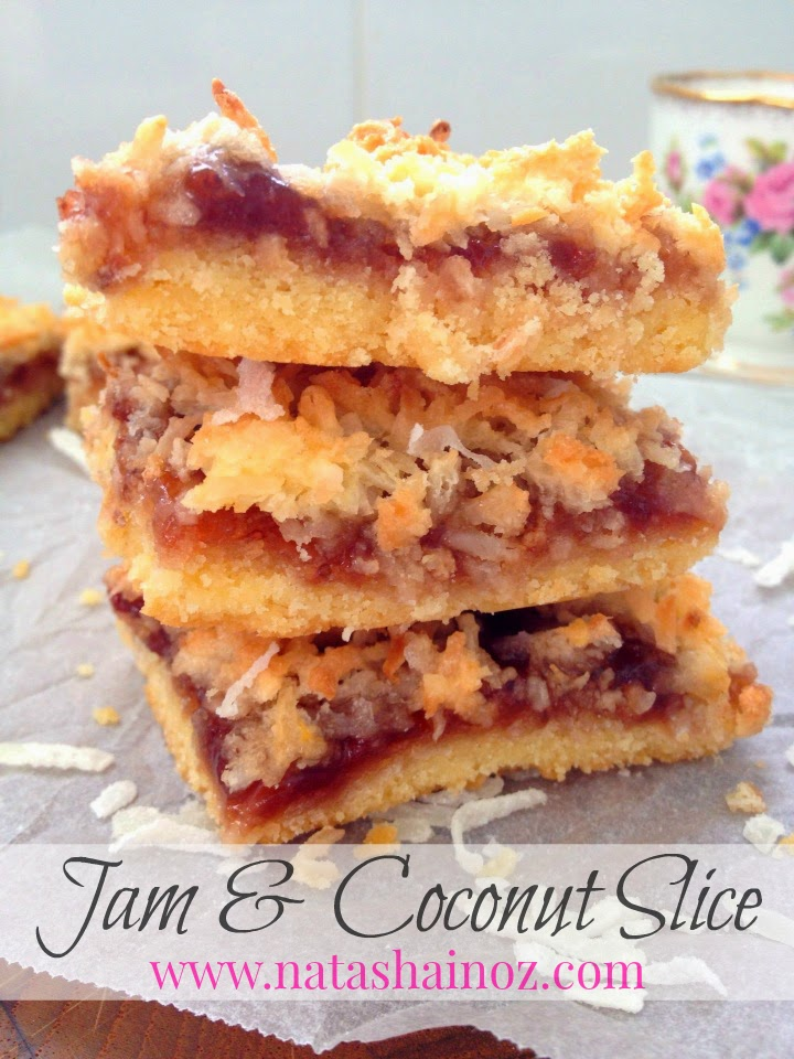 Delicious Jam and Coconut Slice, Natasha in Oz, Recipe