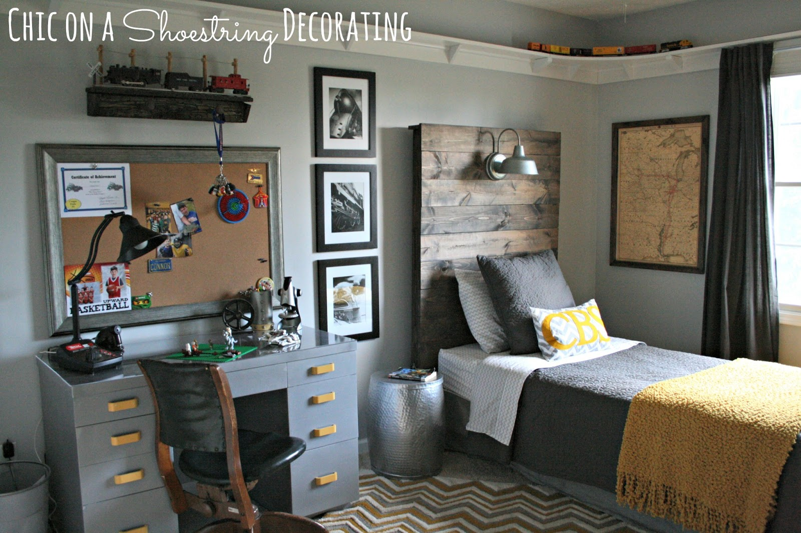 Chic on a shoestring decorating bigger boy room reveal Boys room decor