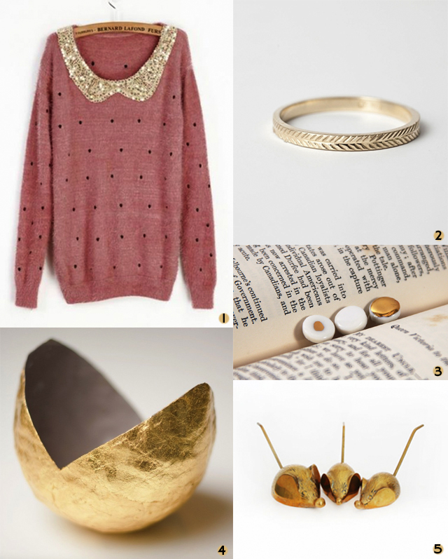 gold coloured items, vintage polka dot jumper with collar, gold ring, porcelain pins, gold vessel, bronze mice
