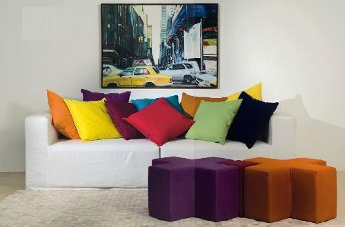 Sala De Tv Com Almofadas Coloridas ~ Maio 2013 ~ Arte De Fazer  Decoração e Artesanato