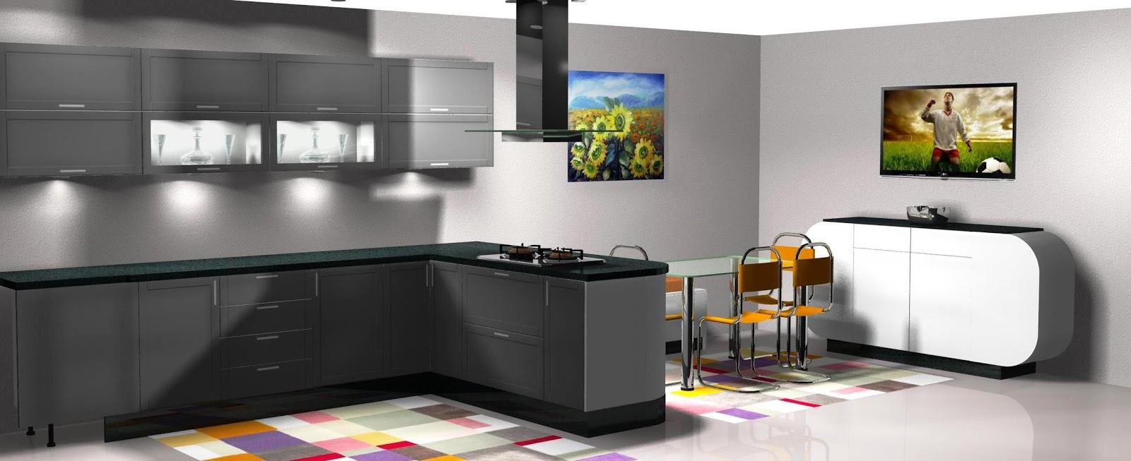 Diseño muebles de cocina Diseño de cocina lacada en blanco y gris