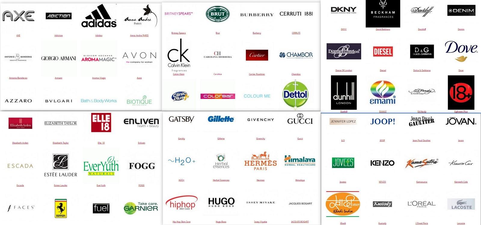 Cosmetics brand logos