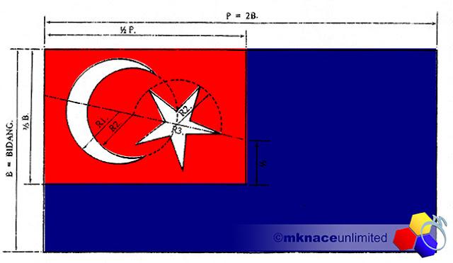 mknace unlimited™ | Ukuran sebenar bendera Johor Darul Ta'zim