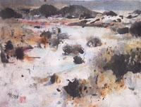 Sumi-e and watercolor on rice paper by William Preston