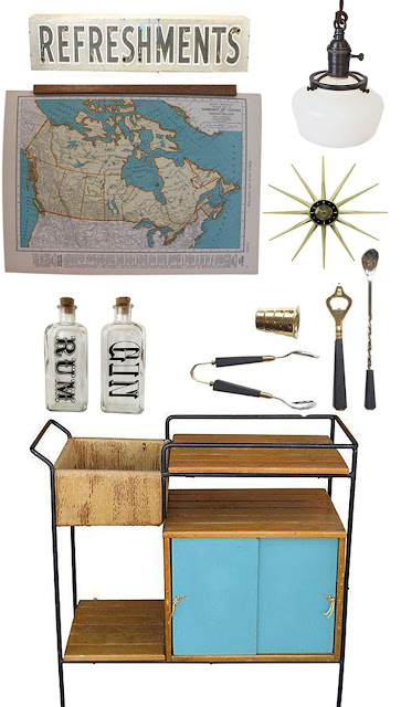 Throwing Decor Rules Out The Window! Mid-Century Modern Meets Schoolhouse Style: Bar Cart Mood Board