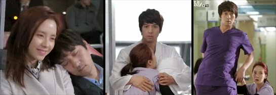 Song Ji Hyo as Oh Jin Hee and Lee Pil Mo 이필모 as Gook Chun Soo with his head on her shoulder as they ride the bus, her falling into him at the hospital, and her cleaning gum off of his pants in an awkward position.