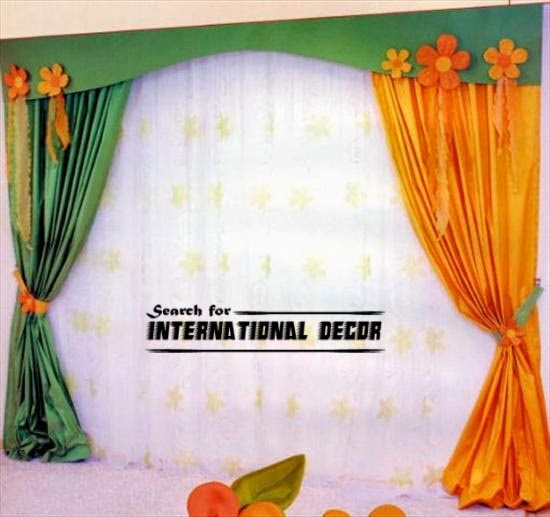 kids curtains, nursery curtains, green and orange curtains