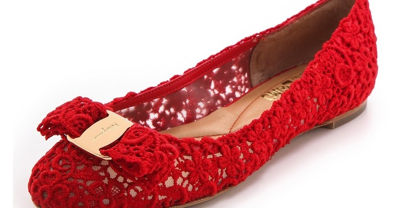 The Terrier and Lobster: Desired: Salvatore Ferragamo Bombay Lace Ballet Flats in Lava