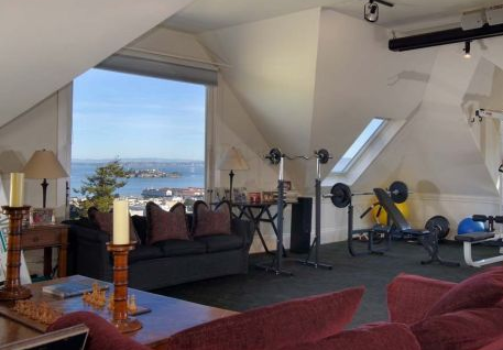 treadmills in gymnasium in pacific heights luxury mansion home in san francisco