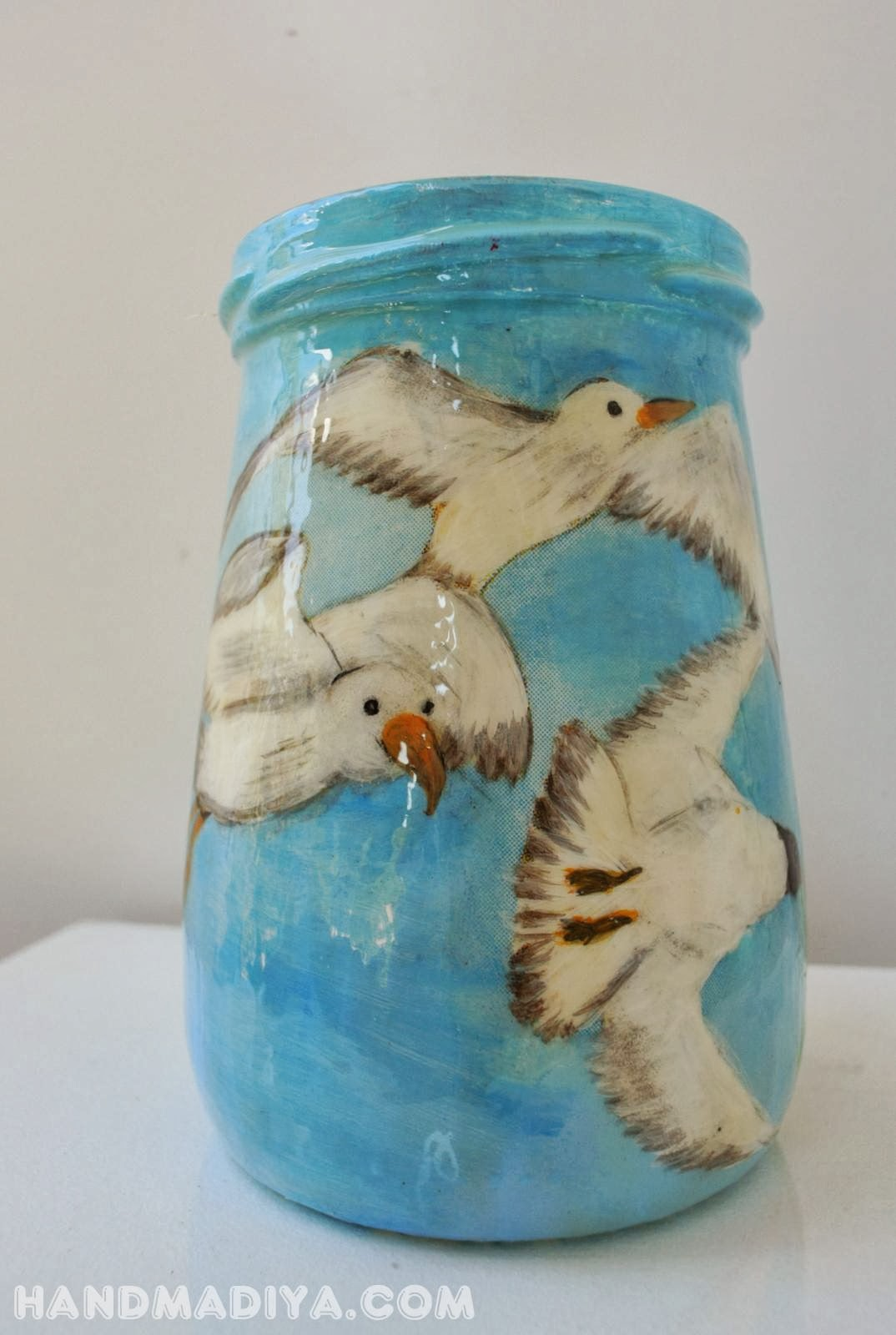 Декупаж стеклянной банки. Мастер-класс. Decoupage glass jar. DIY step-by-step tutorials