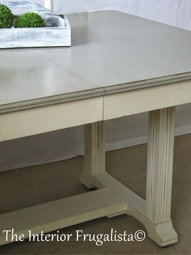 Vintage Dining Table with top painted in French Linen chalk paint
