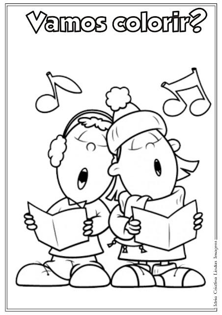 Desenho de crianças cantando para colorir