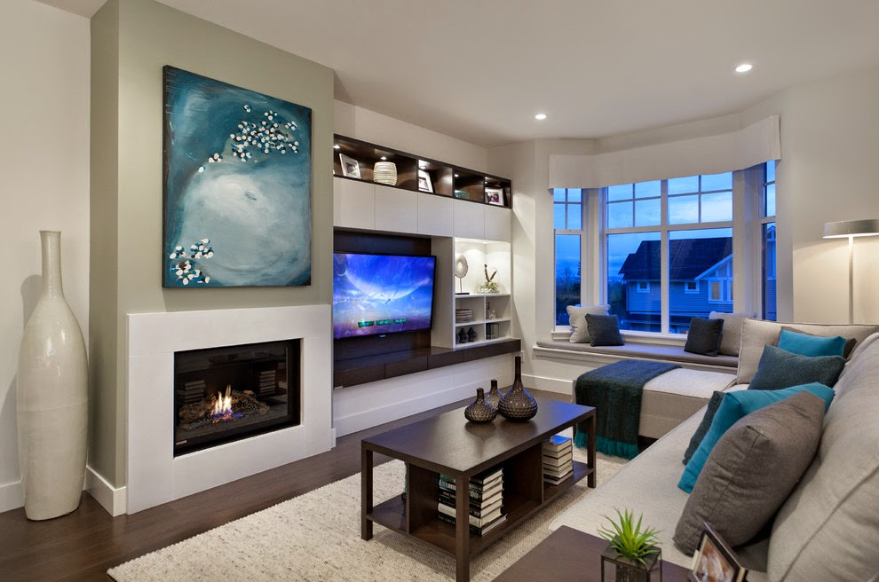 Living room design catalog awesome electric fireplace for Modern living room tv ideas