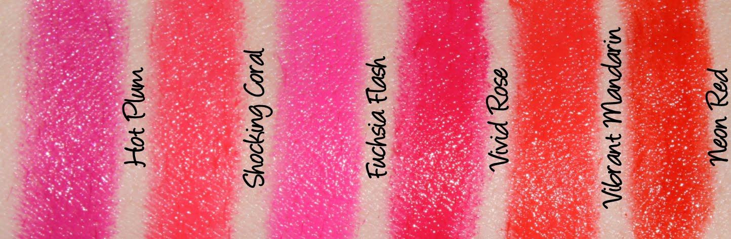Maybelline Colorsensational Vivids - Fuchsia Flash, Vivid Rose, Neon Red, Hot Plum, Shocking Coral & Vibrant Mandarin