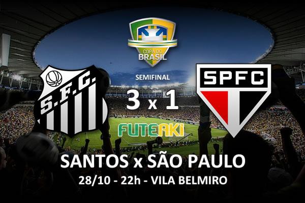 Veja o resumo da partida com os gols e os melhores momentos de Santos 3x1 São Paulo pela semifinal da Copa do Brasil 2015.
