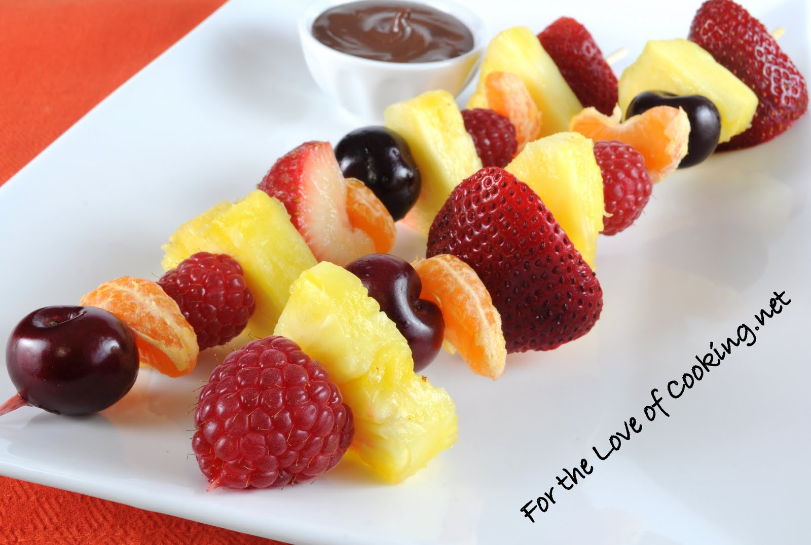 Fruit Kebabs with Melted Chocolate | For the Love of Cooking