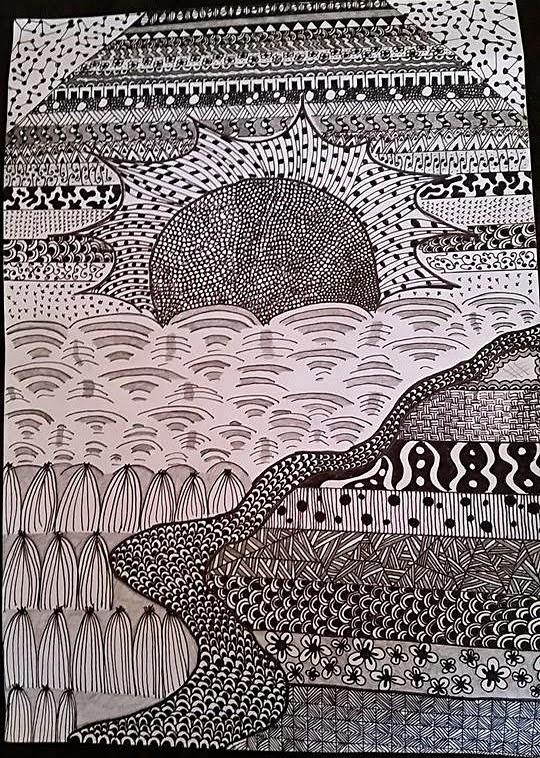 zentangle, zendoodle, zentangling, zenscape, landscape