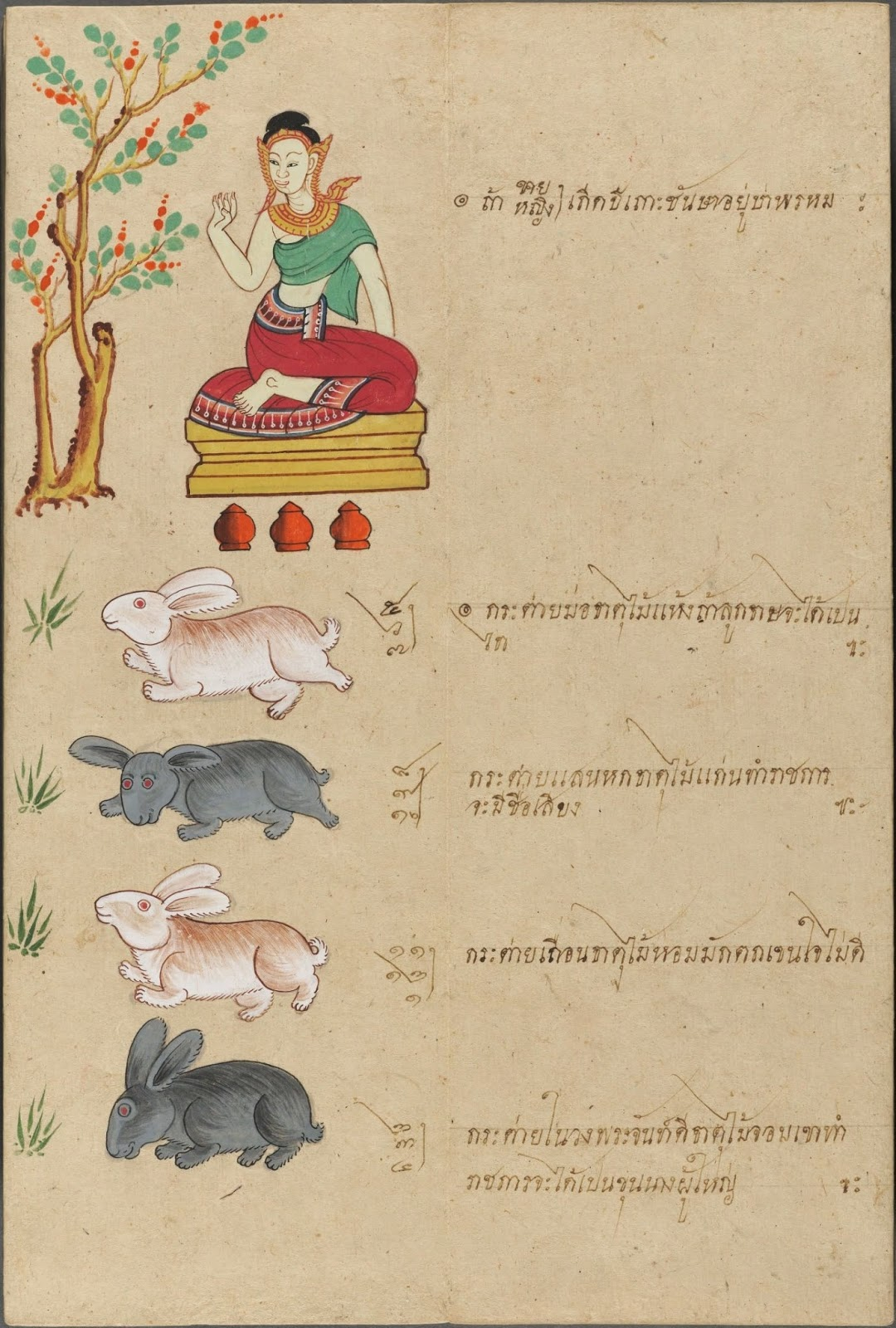 seated Thai God drawn above 4 white rabbits