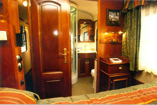 Posh Train Car Living Room. I Wonder If That Fireplace Works?
