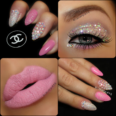 : Prom Princess♥ Statement Eyes & Nails - Pink with Rhinestones