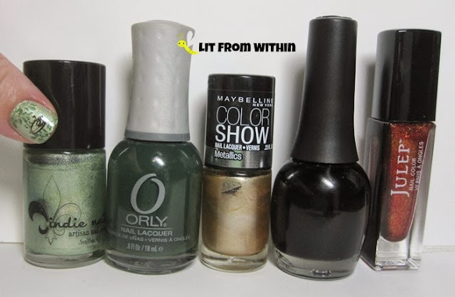 Bottle shot:  Jindie Nails Olive You, Orly Enchanted Forest, Maybelline Bold Gold, Finger Paints Black Expressionism, and Julep Karmen.