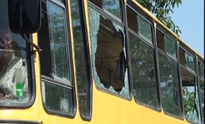 Windows on the Serbian children's bus stoned Gazimestan Kosovo  by Albanians
