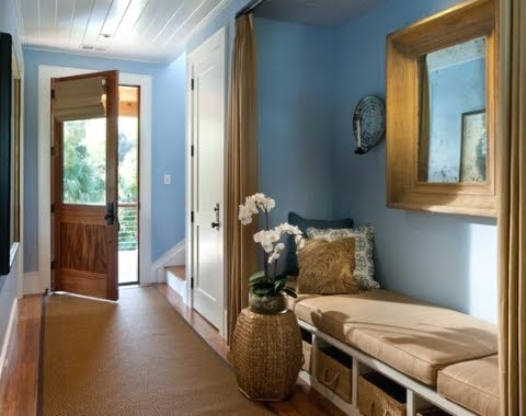 entryway with blue walls