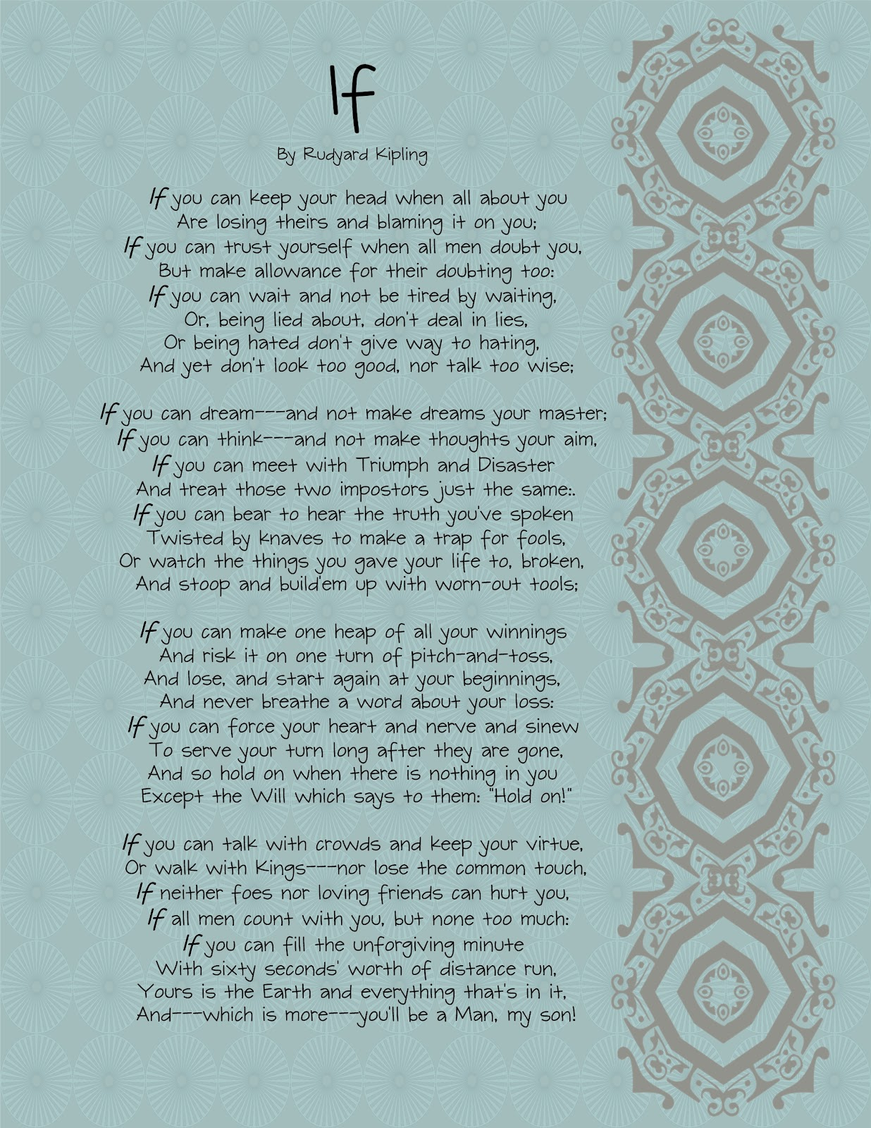 the brown eyes have it if by rudyard kipling printable