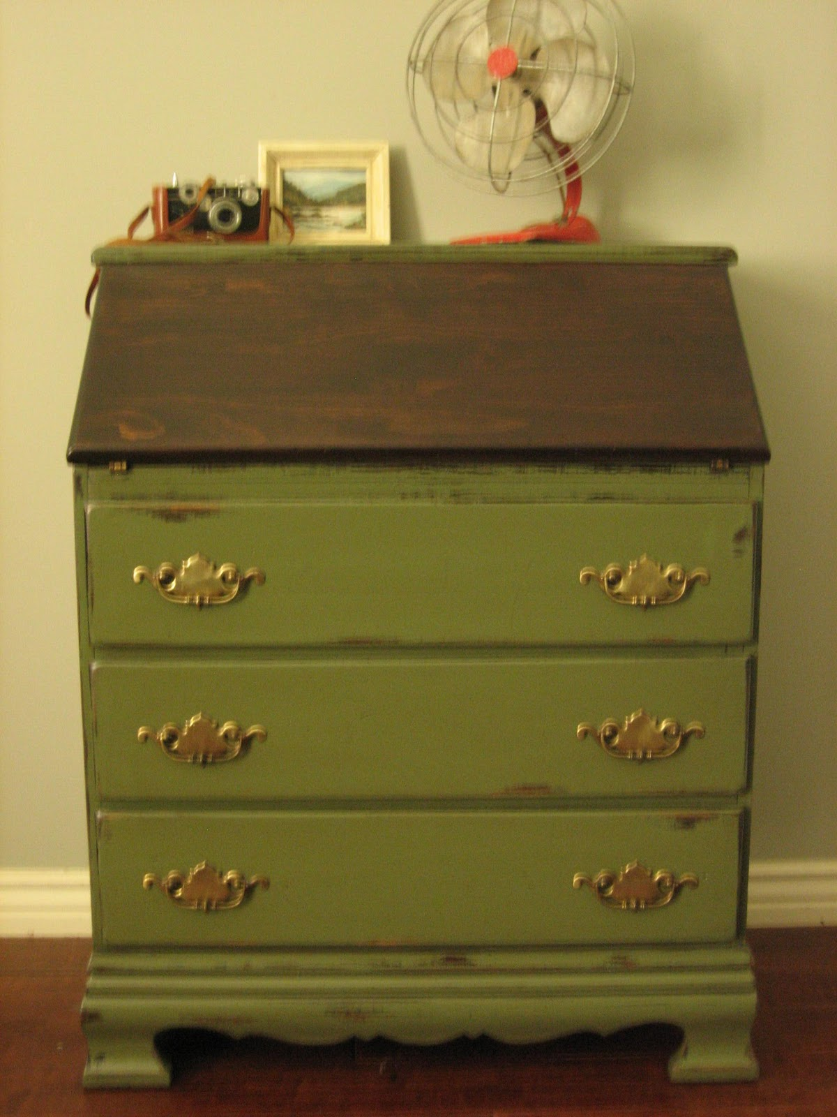 Army Green Dresser on olive green wood stain