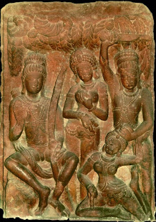 The rakshasa Surpanakha, her advances rejected by both Rama and Lakshmana, attacked Sita in a jealous rage. Lakshmana cut off her nose and ears and she called on Ravana to avenge her. Gupta Style relief, fifth century.