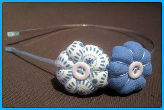 Diadema Tela Flor Azul Chikipol