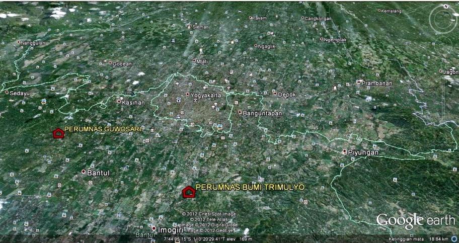 Citra Satlit lokasi Perumnas Bumi Trimulyo dan Bumi Guwosari