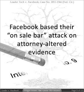 Facebook based their 'on sale bar' attack on attorney-altered evidence