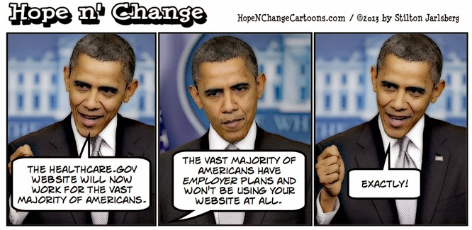 obama, obama jokes, cartoon, obamacare, healthcare.gov, website, stilton jarlsberg, hope n' change, hope and change, conservative, tea party, healthcare