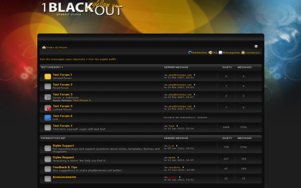 Free Colorful Black Phpbb Style Theme Template